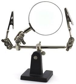 1361 Подставка-держатель с увеличительным стеклом, 2 зажима - фото 7452