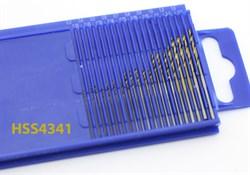 4274 Мини-сверла, диаметр 0,3 - 1,6 мм, набор, 20 шт., HSS 4341, нитрид-титановое покрытие - фото 7784