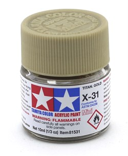 81531 Краска акриловая X-31 Titanium Gold титан золот.металлик 10 мл Tamiya - фото 8439
