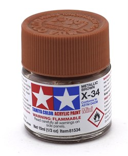 81534 Краска акриловая глянцевая X-34 Metallic Brown коричневый металлик 10 мл Tamiya - фото 8442