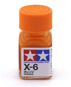 80006 Краска эмалевая глянцевая X-6 Orange оранжевая 10 мл Tamiya - фото 8578