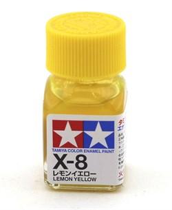 80008 Краска эмалевая глянцевая X-8 Lemon Yellow лимонно-желтая 10 мл Tamiya - фото 8579