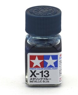 80013 Краска эмалевая глянцевая X-13 Metallic Blue синий металлик 10 мл Tamiya - фото 8581