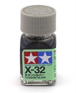 80032 Краска эмалевая глянцевая X-32 Titanium Silver  титан серебр.металлик 10 мл Tamiya - фото 8593