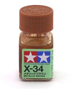 80034 Краска эмалевая глянцевая X-34 Metallic Brown коричневый металлик 10 мл Tamiya - фото 8595