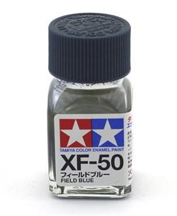 80350 Краска эмалевая матовая XF-50 Field Blue полевая синяя 10 мл Tamiya - фото 8615