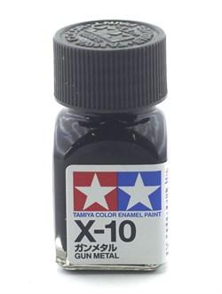 80010 Краска эмалевая глянцевая X-10 Gun Metal вороненая сталь 10 мл Tamiya - фото 9570