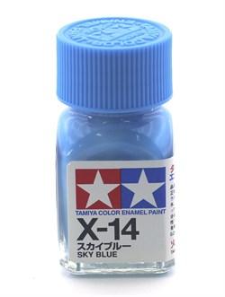 80014 Краска эмалевая глянцевая X-14 Sky Blue лазурная 10 мл Tamiya - фото 9573