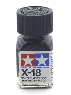 80018 Краска эмалевая глянцевая X-18 Semi Gloss Black полуматовая черная 10 мл Tamiya - фото 9574
