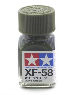 80358 Краска эмалевая матовая XF-58 Olive Green оливково-зеленая 10 мл Tamiya - фото 9585