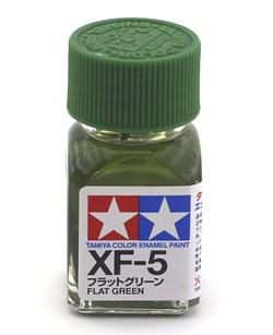 80305 Краска эмалевая матовая XF-5 Flat Green зеленая 10 мл Tamiya - фото 9883