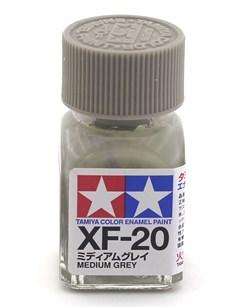 80320 Краска эмалевая матовая XF-20 Medium Gray средне-серая 10 мл Tamiya - фото 9884