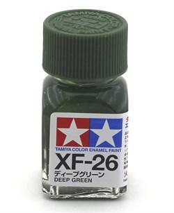 80326 Краска эмалевая матовая XF-26 Deep Green насыщенная зеленая 10 мл Tamiya - фото 9885