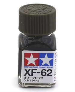 80362 Краска эмалевая матовая XF-62 Olive Drab тусклый оливково-зеленый 10 мл Tamiya - фото 9886
