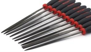 4303 Набор надфилей с ручками, 10 шт., блистер + чехол