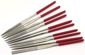 4351 Набор надфилей с ручками, алмазные, 10 шт., чехол