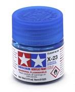 81523 Краска акриловая глянцевая X-23 Clear Blue прозрачная синяя 10 мл Tamiya