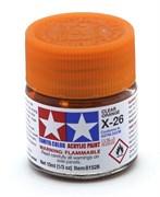 81526 Краска акриловая глянцевая X-26 Clear Orange прозрачная оранжевая 10 мл Tamiya