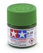 81528 Краска акриловая глянцевая X-28 Park Green травяная зеленая 10 мл Tamiya