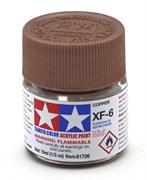 81706 Краска акриловая матовая XF-6 Copper медная 10 мл Tamiya