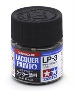 82103 Краска LP-3 Flat Black черная матовая 10 мл Tamiya