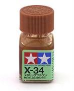 80034 Краска эмалевая X-34 Metallic Brown коричневый металлик 10 мл Tamiya
