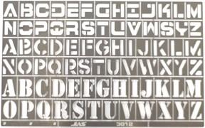 3812 Трафарет буквы латинского алфавита 78 символов