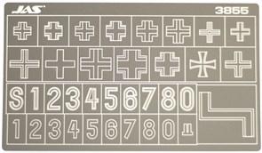 3855 Трафарет для вырезания опознавательных знаков немецких танков 2 МВ 1/35
