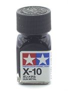 80010 Краска эмалевая глянцевая X-10 Gun Metal вороненая сталь 10 мл Tamiya