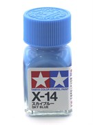 80014 Краска эмалевая глянцевая X-14 Sky Blue лазурная 10 мл Tamiya