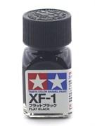 80301 Краска эмалевая матовая XF-1 Flat Black черная 10 мл Tamiya