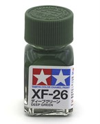 80326 Краска эмалевая матовая XF-26 Deep Green насыщенная зеленая 10 мл Tamiya